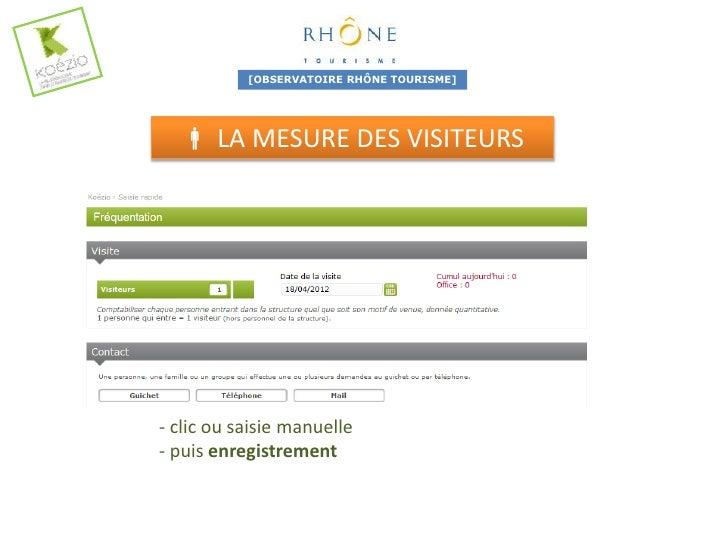 [OBSERVATOIRE RHÔNE TOURISME]            LA MESURE DES CONTACTS- clic sur GUICHET- renseignement du code postal (si fran...