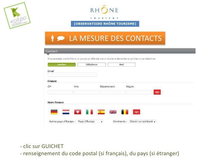 [OBSERVATOIRE RHÔNE TOURISME]              LA MESURE DES CONTACTS-clic sur TÉLÉPHONE OU MAIL- renseignement du code post...