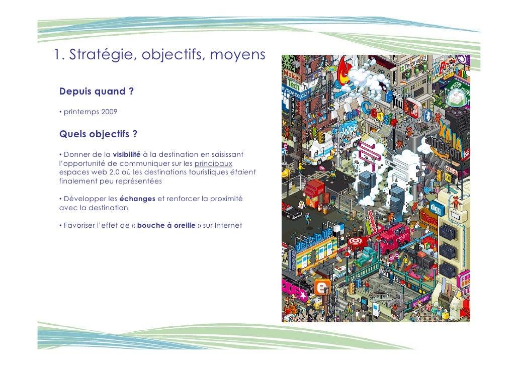 1. Stratégie, objectifs, moyens  Depuis quand ? • printemps 2009   Quels objectifs ? • Donner de la visibilité à la destin...