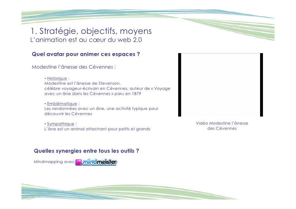 1. Stratégie, objectifs, moyens L'animation est au cœur du web 2.0  Quel avatar pour animer ces espaces ?  Modestine l'âne...