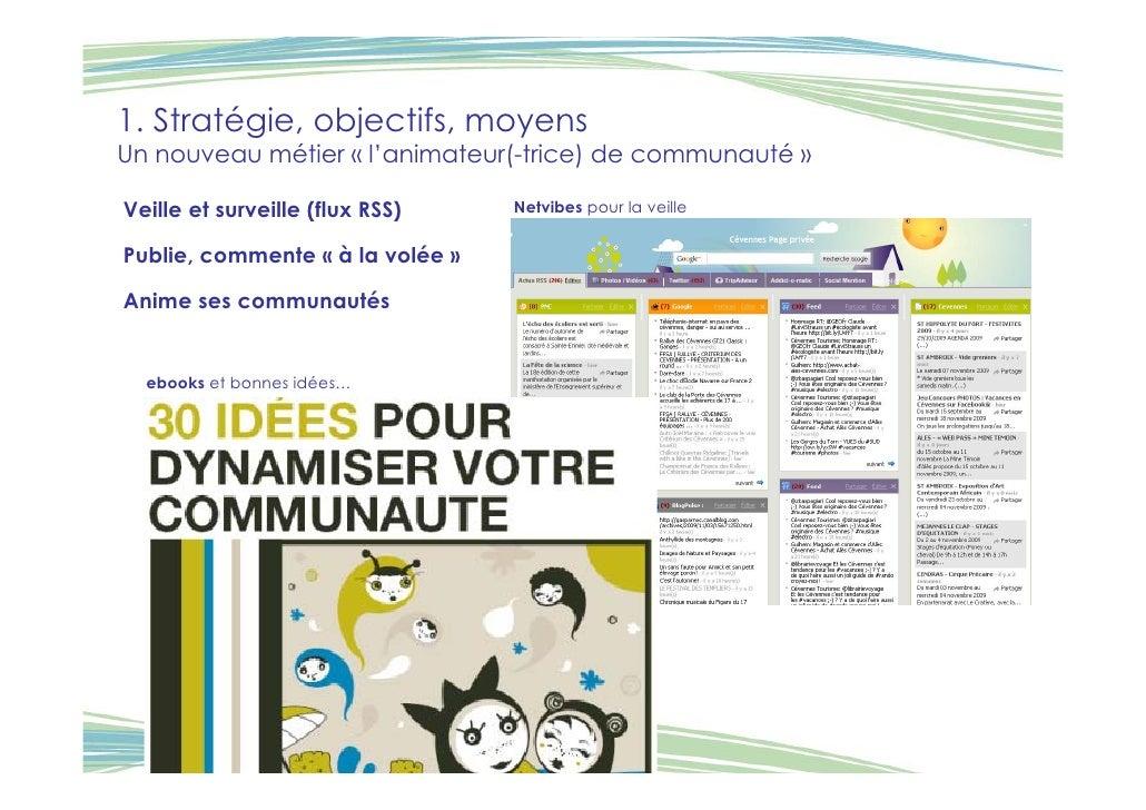 1. Stratégie, objectifs, moyens Un nouveau métier « l'animateur(-trice) de communauté »  Veille et surveille (flux RSS)   ...