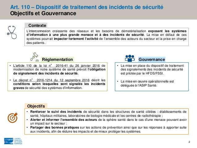 Atelier N°10 Signalement des incidents graves de sécurité (art 110 Loi de santé 2016) Slide 2