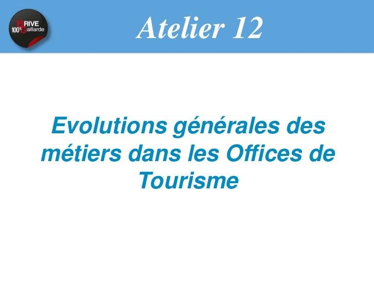 Évolutions générales des métiers  dans les Offices de Tourisme                 Par       Jean-Luc Boulin - MOPA     Philip...