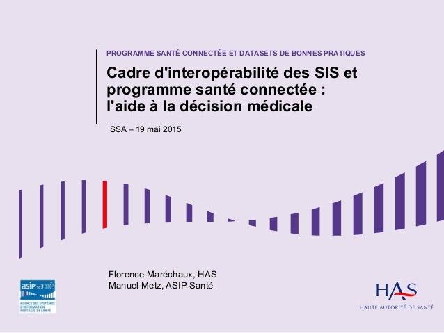PROGRAMME SANTÉ CONNECTÉE ET DATASETS DE BONNES PRATIQUES Cadre d'interopérabilité des SIS et programme santé connectée : ...