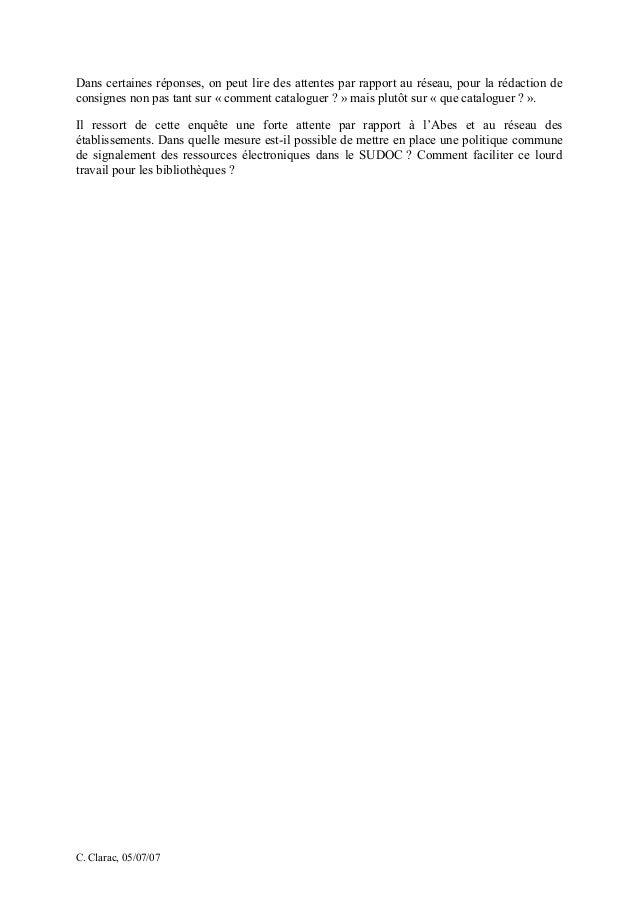Jabes 2007 -  Atelier 1, synthèse de l'enquête sur le catalogage des ressources électroniques Slide 2