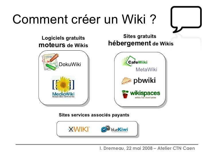 Comment créer un Wiki ? DokuWiki Logiciels gratuits  moteurs  de Wikis Sites services associés payants Sites gratuits  héb...