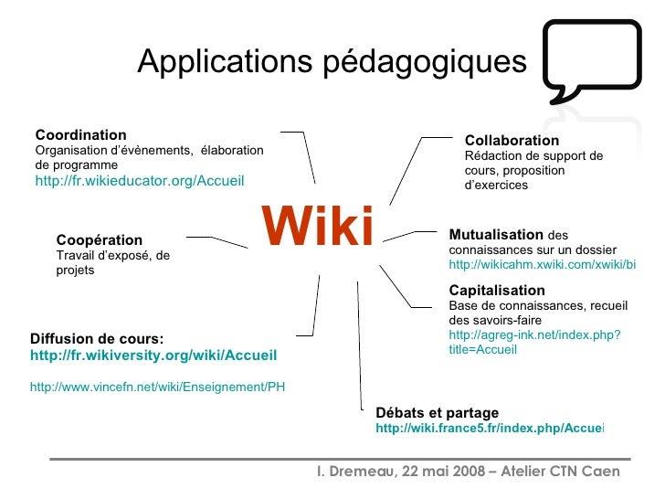 Applications pédagogiques Wiki Collaboration Rédaction de support de cours, proposition d'exercices Diffusion de cours: ht...
