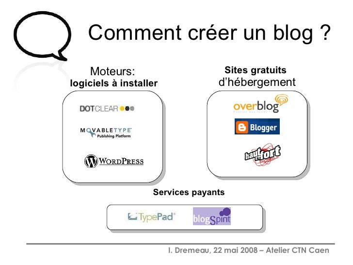 Comment créer un blog ? Moteurs: logiciels à installer Services payants Sites gratuits  d'hébergement