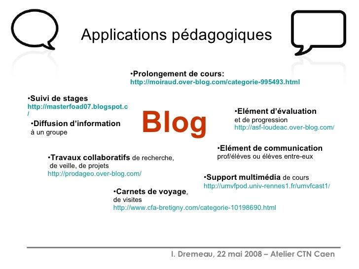 Applications pédagogiques   Blog <ul><li>Prolongement de cours:  http:// moiraud.over-blog.com /categorie-995493.html </li...
