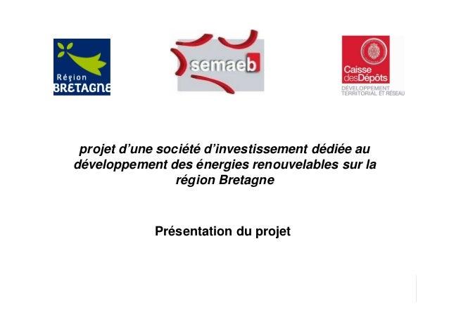 Page 1 1 Présentation du projet projet d'une société d'investissement dédiée au développement des énergies renouvelables s...