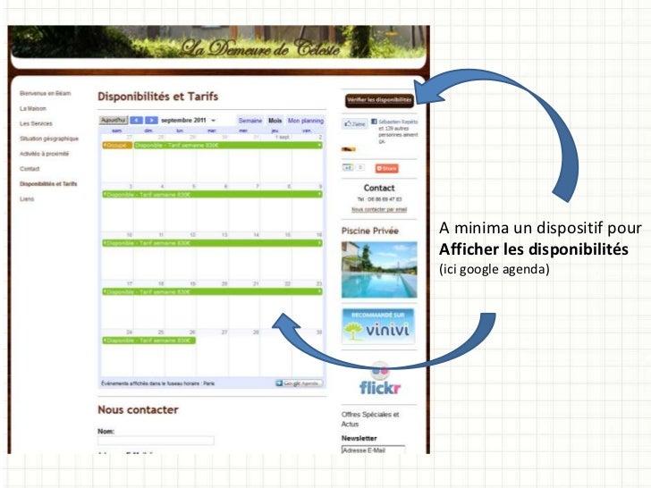 A minima un dispositif pourAfficher les disponibilités(ici google agenda)
