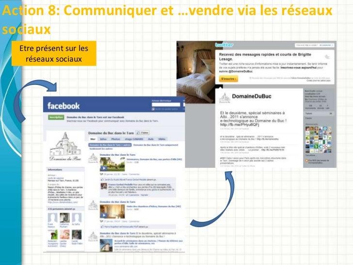 Action 8: Communiquer et …vendre via les réseauxsociaux  Etre présent sur les    réseaux sociaux