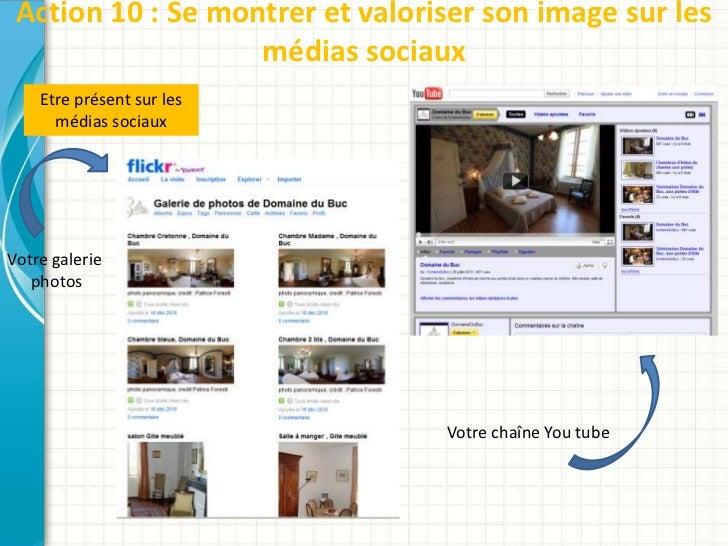 Action 10 : Se montrer et valoriser son image sur les                   médias sociaux    Etre présent sur les      médias...