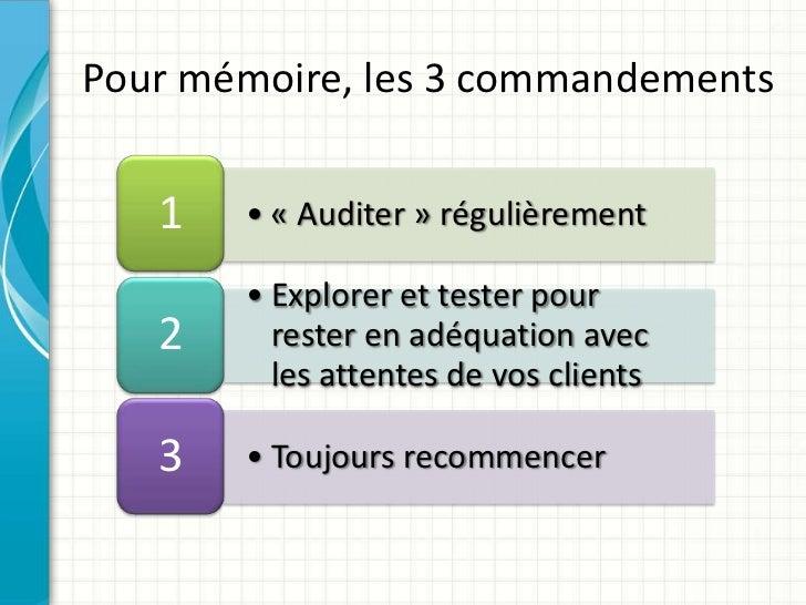 Pour mémoire, les 3 commandements   1   • « Auditer » régulièrement       • Explorer et tester pour   2     rester en adéq...