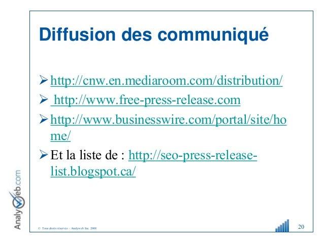 © Tous droits réservés – Analyweb Inc. 2008 Diffusion des communiqué http://cnw.en.mediaroom.com/distribution/  http://w...