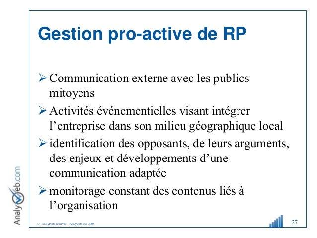 © Tous droits réservés – Analyweb Inc. 2008 Gestion pro-active de RP  Communication externe avec les publics mitoyens  A...