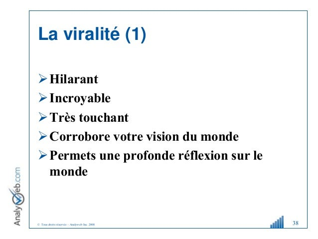 © Tous droits réservés – Analyweb Inc. 2008 La viralité (1) Hilarant Incroyable Très touchant Corrobore votre vision d...