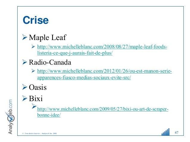 © Tous droits réservés – Analyweb Inc. 2008 Crise Maple Leaf  http://www.michelleblanc.com/2008/08/27/maple-leaf-foods- ...