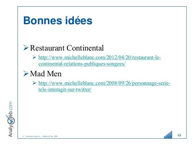 © Tous droits réservés – Analyweb Inc. 2008 Bonnes idées Restaurant Continental  http://www.michelleblanc.com/2012/04/20...