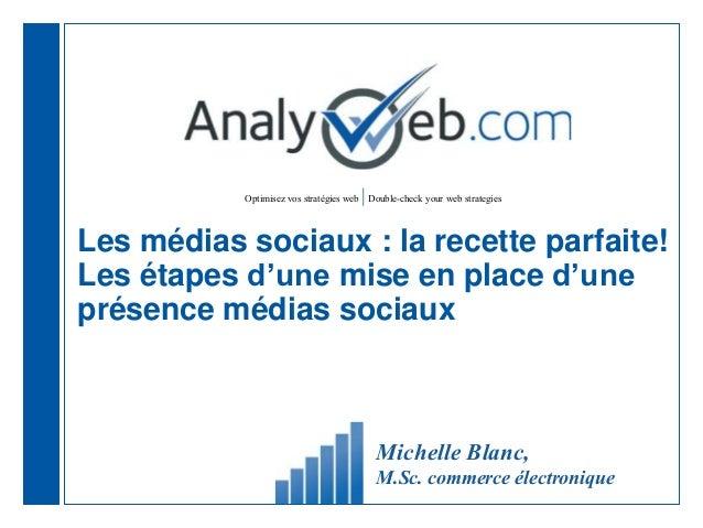Optimisez vos stratégies web |Double-check your web strategies Les médias sociaux : la recette parfaite! Les étapes d'une ...