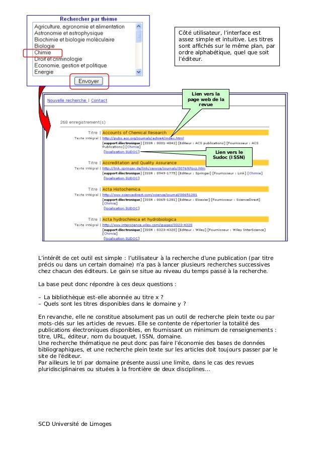 Jabes 2008 - Atelier 4 : périodiques en ligne, signalement et accès. Présentation SCD de Limoges Slide 2