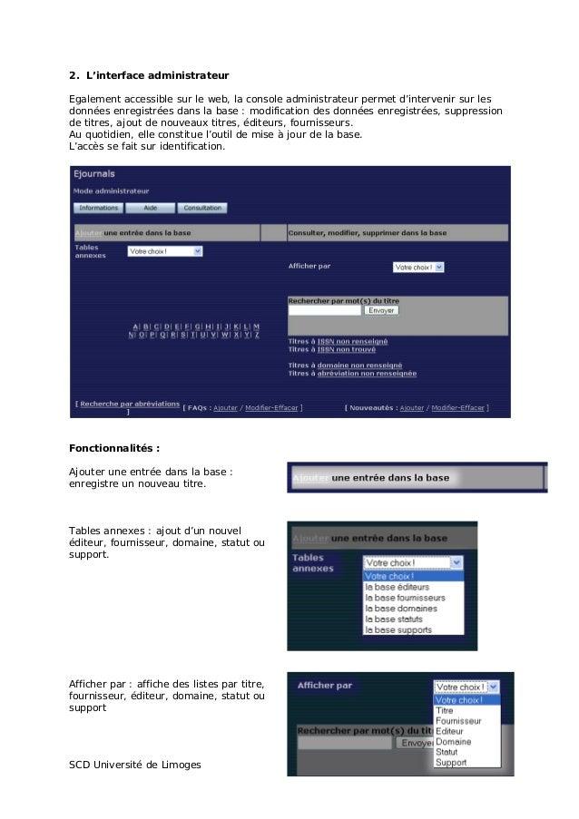 Jabes 2008 - Atelier 4 : périodiques en ligne, signalement et accès. Présentation SCD de Limoges Slide 3