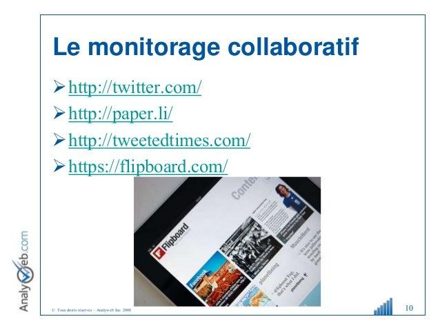 © Tous droits réservés – Analyweb Inc. 2008 Le monitorage collaboratif http://twitter.com/ http://paper.li/ http://twee...