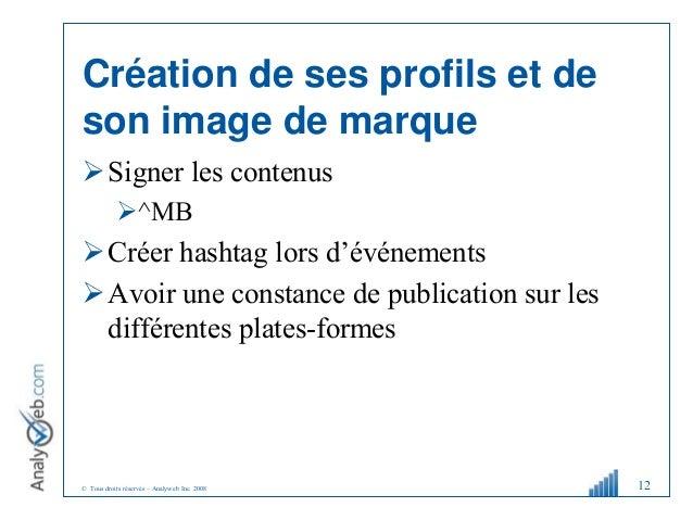 © Tous droits réservés – Analyweb Inc. 2008 Création de ses profils et de son image de marque Signer les contenus ^MB C...