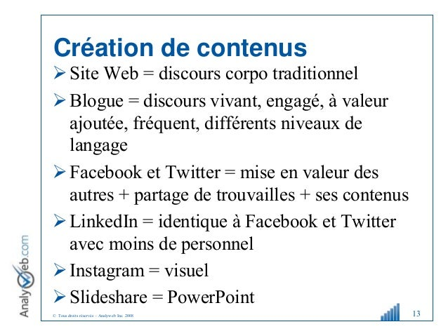 © Tous droits réservés – Analyweb Inc. 2008 Création de contenus Site Web = discours corpo traditionnel Blogue = discour...