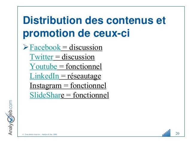 © Tous droits réservés – Analyweb Inc. 2008 Distribution des contenus et promotion de ceux-ci Facebook = discussion Twitt...
