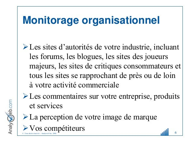 © Tous droits réservés – Analyweb Inc. 2008 Les sites d'autorités de votre industrie, incluant les forums, les blogues, l...