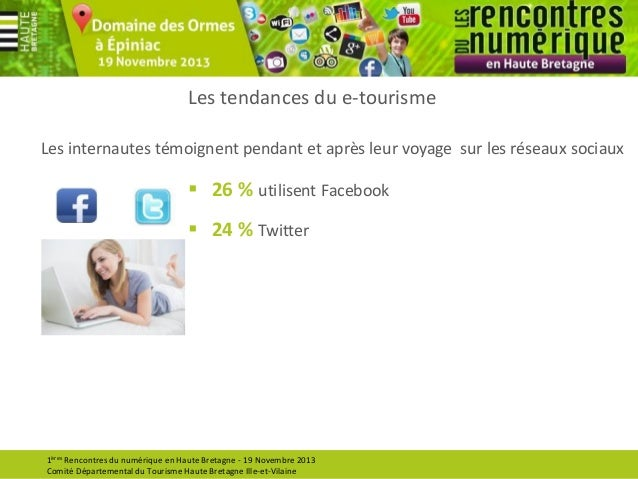 Les tendances du e-tourisme Les internautes témoignent pendant et après leur voyage sur les réseaux sociaux   26 % utilis...