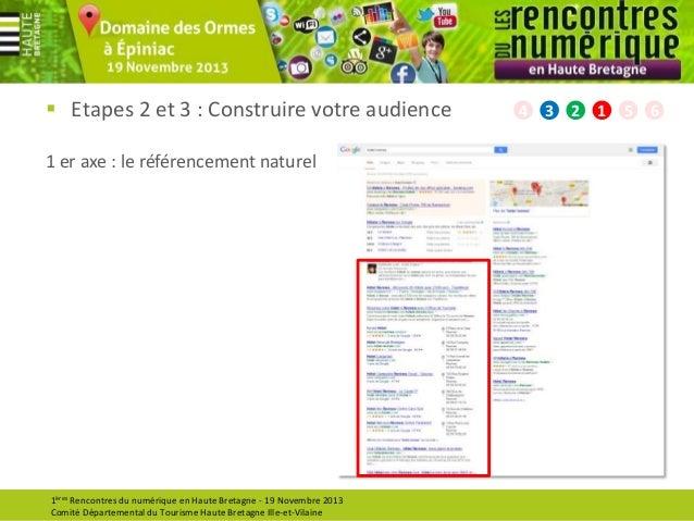  Etapes 2 et 3 : Construire votre audience 1 er axe : le référencement naturel  1ères Rencontres du numérique en Haute Br...