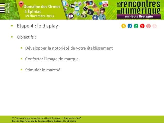  Etape 4 : le display  Objectifs :  Développer la notoriété de votre établissement   Conforter l'image de marque  Sti...