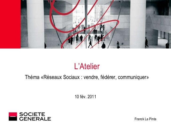 L'Atelier Théma «Réseaux Sociaux : vendre, fédérer, communiquer» 10 fév. 2011 Franck La Pinta