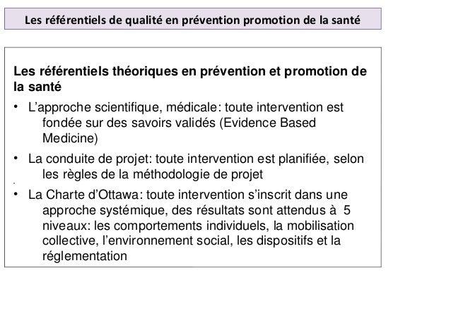 Les référentiels de qualité en prévention promotion de la santé Les référentiels théoriques en prévention et promotion de ...