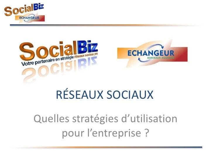 réseaux Sociaux<br />Quelles stratégies d'utilisation pour l'entreprise ?<br />