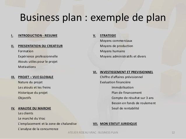 atelier entrepreneuriat  business plan  journ u00e9e r u00e9seau vrac  3