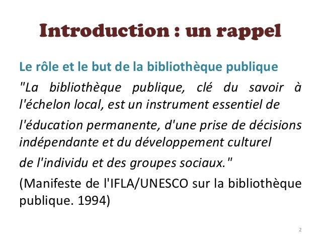 Bibliothèque publique & Communauté Slide 2