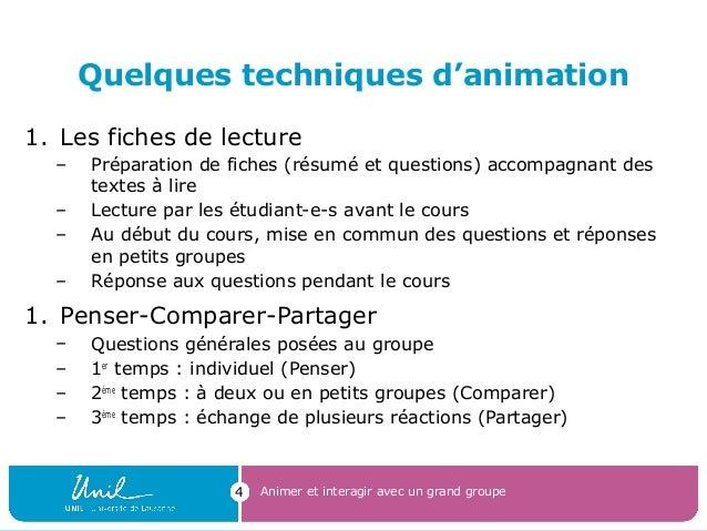 Quelques techniques d'animation 1. Les fiches de lecture – Préparation de fiches (résumé et questions) accompagnant des te...