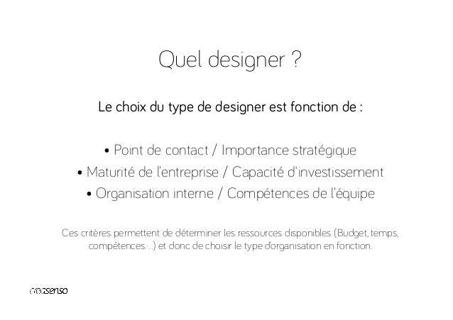 Quel designer ? Tous les projets ne sont pas égaux Produit Communication Marque Contenu Fondamental Secondaire En équipe I...