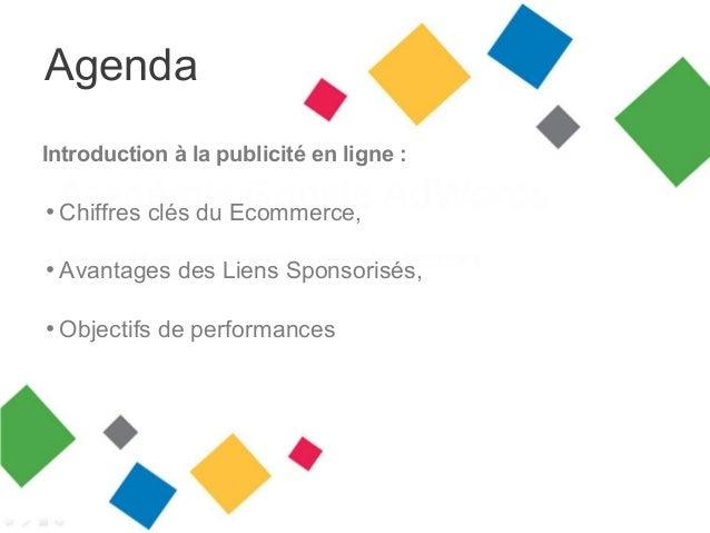 Agenda Introduction à la publicité en ligne :  • Chiffres clés du Ecommerce, • Avantages des Liens Sponsorisés, • Objectif...