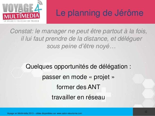 Le planning de Jérôme  Constat: le manager ne peut être partout à la fois,     il lui faut prendre de la distance, et délé...
