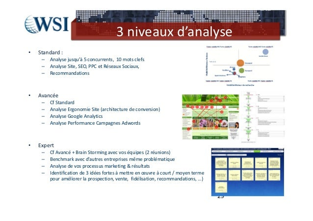 3niveauxd'analyse•   Standard:     –   Analysejusqu'à5concurrents,10motsclefs     –   AnalyseSite,SEO,PPCet...