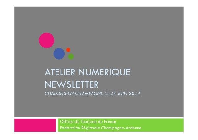 ATELIER NUMERIQUE  NEWSLETTER  CHÂLONS-EN-CHAMPAGNE LE 24 JUIN 2014  Offices de Tourisme de France  Fédération Régionale C...