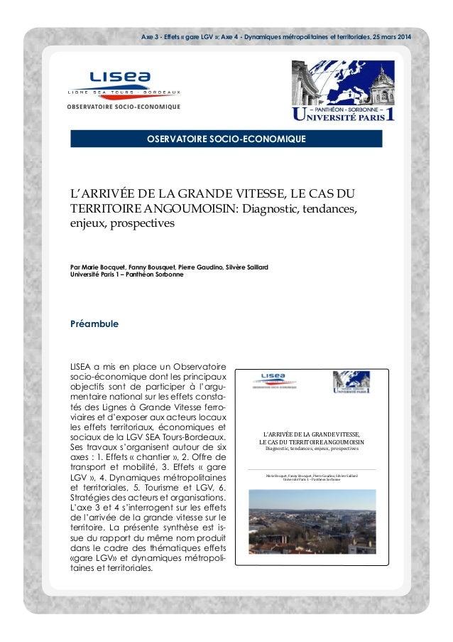 Axe 3 - Effets « gare LGV »; Axe 4 - Dynamiques métropolitaines et territoriales, 25 mars 2014 OSERVATOIRE SOCIO-ECONOMIQU...