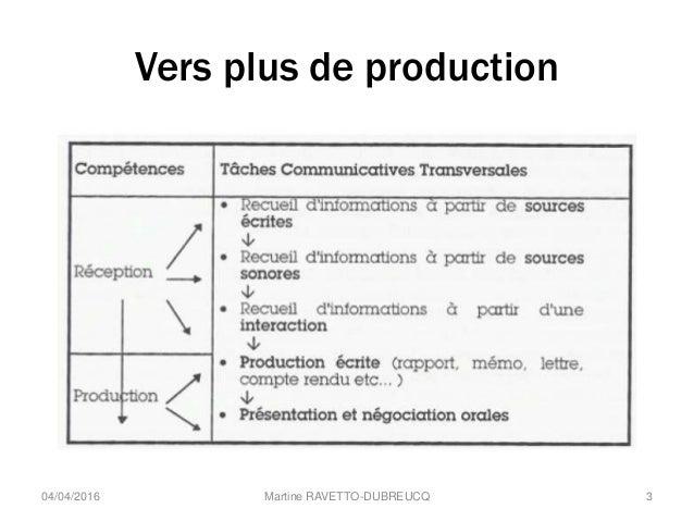 Vers plus de production Martine RAVETTO-DUBREUCQ 304/04/2016