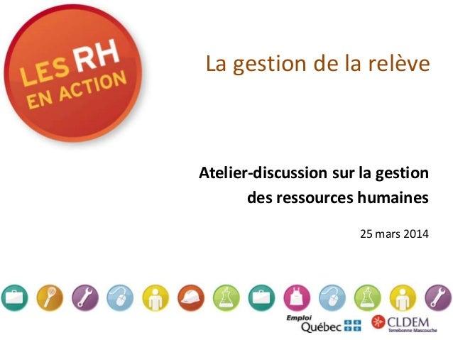 La gestion de la relève Atelier-discussion sur la gestion des ressources humaines 25 mars 2014