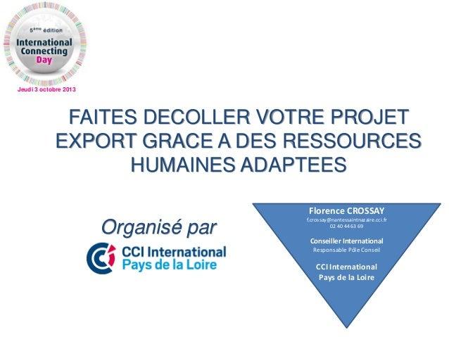 Jeudi 3 octobre 2013 FAITES DECOLLER VOTRE PROJET EXPORT GRACE A DES RESSOURCES HUMAINES ADAPTEES Organisé par Florence CR...