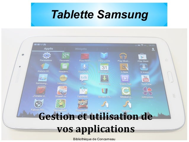 Tablette Samsung Gestion et utilisation de vos applications Bibliothèque de Concarneau